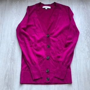 LOFT Lightweight Sweater Cardigan Fuchsia XS